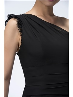 Timeless A-Line Black Lace One-Shoulder Long Evening Dress