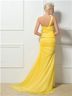 Hot Selling One-Shoulder Sheath Beading Long Sweep Train Evening Dress