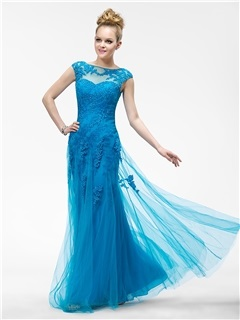 Vogue Mermaid Appliques Bateau Cap Sleeves Zipper-up Floor-Length Evening Dress & Evening Dresses under 300