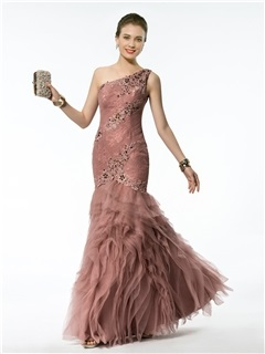 Classic Mermaid/Trumpet Floor-Length One-Shoulder Appliques&Beading Evening Dress & romantic Evening Dresses