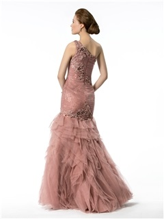 Classic Mermaid/Trumpet Floor-Length One-Shoulder Appliques&Beading Evening Dress