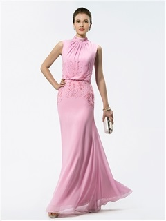 Popular A-Line High Neck Beading Floor-Length Mother of the Bride Dress