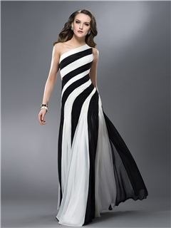 Classical Sheath One-Shoulder Ruched Hollow Out Floor-Length Evening Dress Designed Independently & Evening Dresses under 300
