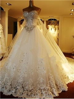 Attractive  beading lace-up Sweetheart  watteau Train A-Line Wedding dress & vintage style Wedding Dresses