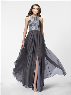 Shining A-Line Jewel Neckline Beading Split-Front Long Evening Dress Designed