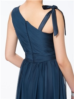 Simple Style Ruched A-Line Floor Length Straps Zipper-up Evening Dress