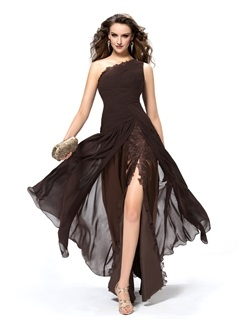 Timeless Ruffles Trupet One Shoulder Appliques Floor-Length Evening Dress & colored Formal Dresses