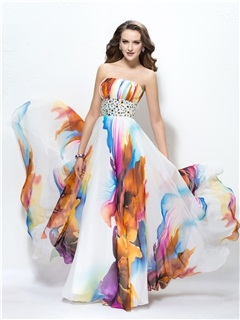 Attractive Strapless Ruched Beading Zipper-Up A-Line Floor Length Prom Dress Designed Independently & Prom Dresses online
