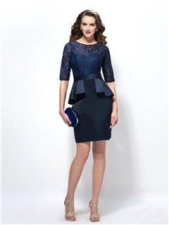 Elegant Lace Half  Sleeves Sheath/Column Short-length Formal Dress & vintage style Formal Dresses