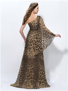 Timeless Leopard-Print One-Shoulder Long Sleeve Sweep Train Evening Dress Designed