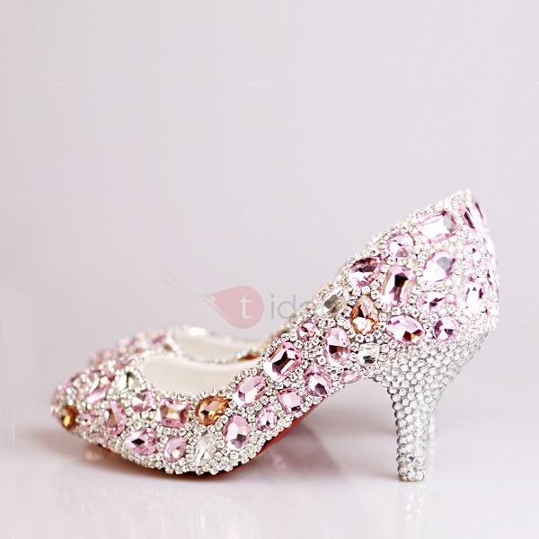 Enchanting Crystal Beak Closed Toe Mid Heel Pink Wedding Shoes