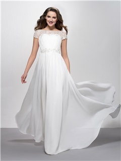 Fancy Appliques Bateau Court Train Short Sleeves Floor-Length Evening Dress
