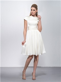 Elegant Bateau Neckline Short Sleeves Knee-Length Zipper-Up Event Dress & affordable Graduation Dresses