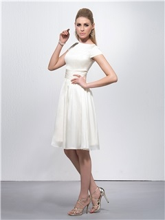 Cheap Bateau Neck Short Sleeves A-Line Knee-Length Party Dress
