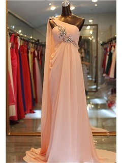 Elegant A-Line Sweep Train Crystal One-Shoulder Floor-Length Evening Dress