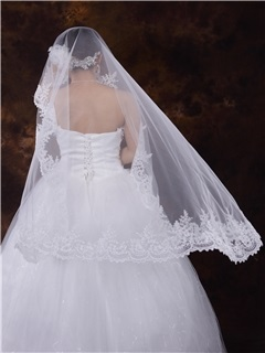 Lace Trim Edge Wedding Veil