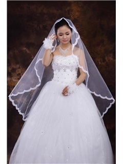 Best White Tull Fingertip Veils with Lace Applique Edge