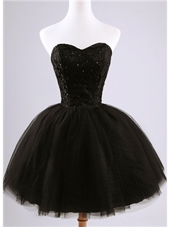 Classic Sweetheart Lace Sequins Lace-up Short Black Cocktail Dress