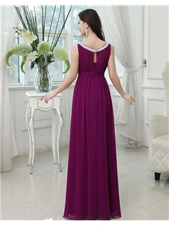 Most Popular Jewel Neck Floor-Length A-Line Beading Bridesmaid Dress