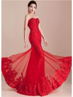 Stunning Mermaid Appliques Beading Sweetheart Lace-up Floor-Length Evening Dress & quality Evening Dresses
