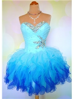 Impressive Sweetheart Beading Ruffles Lace-up Short Sweet 16/Homecoming Dress & elegant Prom Dresses