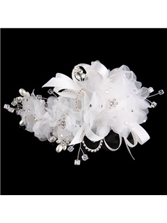 Silk Yarn Flowers Crystal Pearls Bride Bridesmaid Wedding Evening Hair Flower