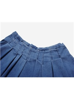 Blue Lace Patchwork Pleated Jeans Skirt