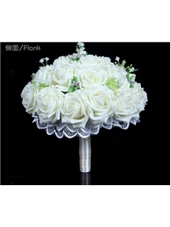 Best Lace Pearl White Rose Starry Sky Wedding Bouquet