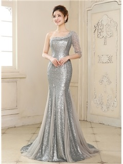 Latest Mermaid One-Shoulder Half Sleeve Sequins Beading Long Evening Dress & simple Formal Dresses