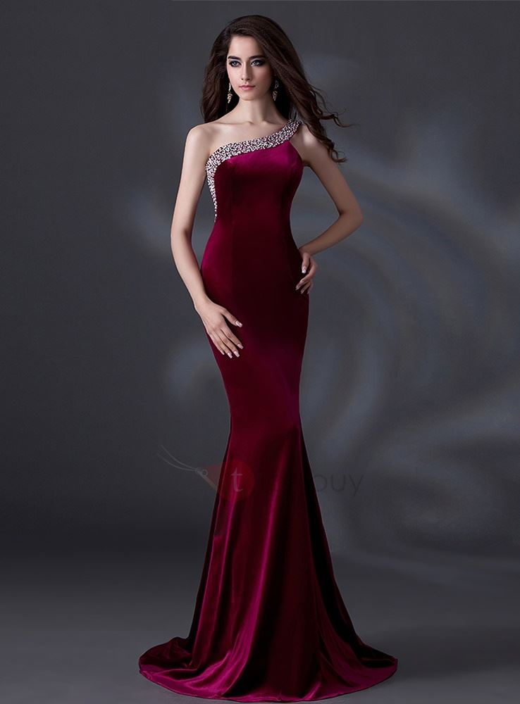 Courtlike Mermaid One-Shoulder Beading Sweep Train Evening Dress
