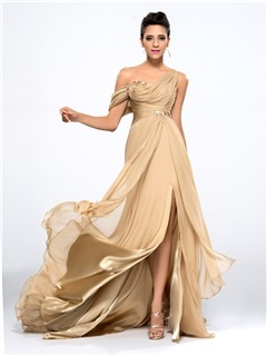 Hot Selling One Shoulder Appliques Split Front Long Evening Dress Designed