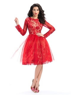 Vintage Bateau Lace Long Sleeves Knee Length Red Cocktail Dress