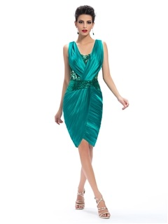 Sheath V-Neck Appliques Ruched Knee-Length Formal Dress