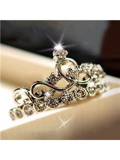 Crown With Crystal 925 Sterling Silver Womens Ring