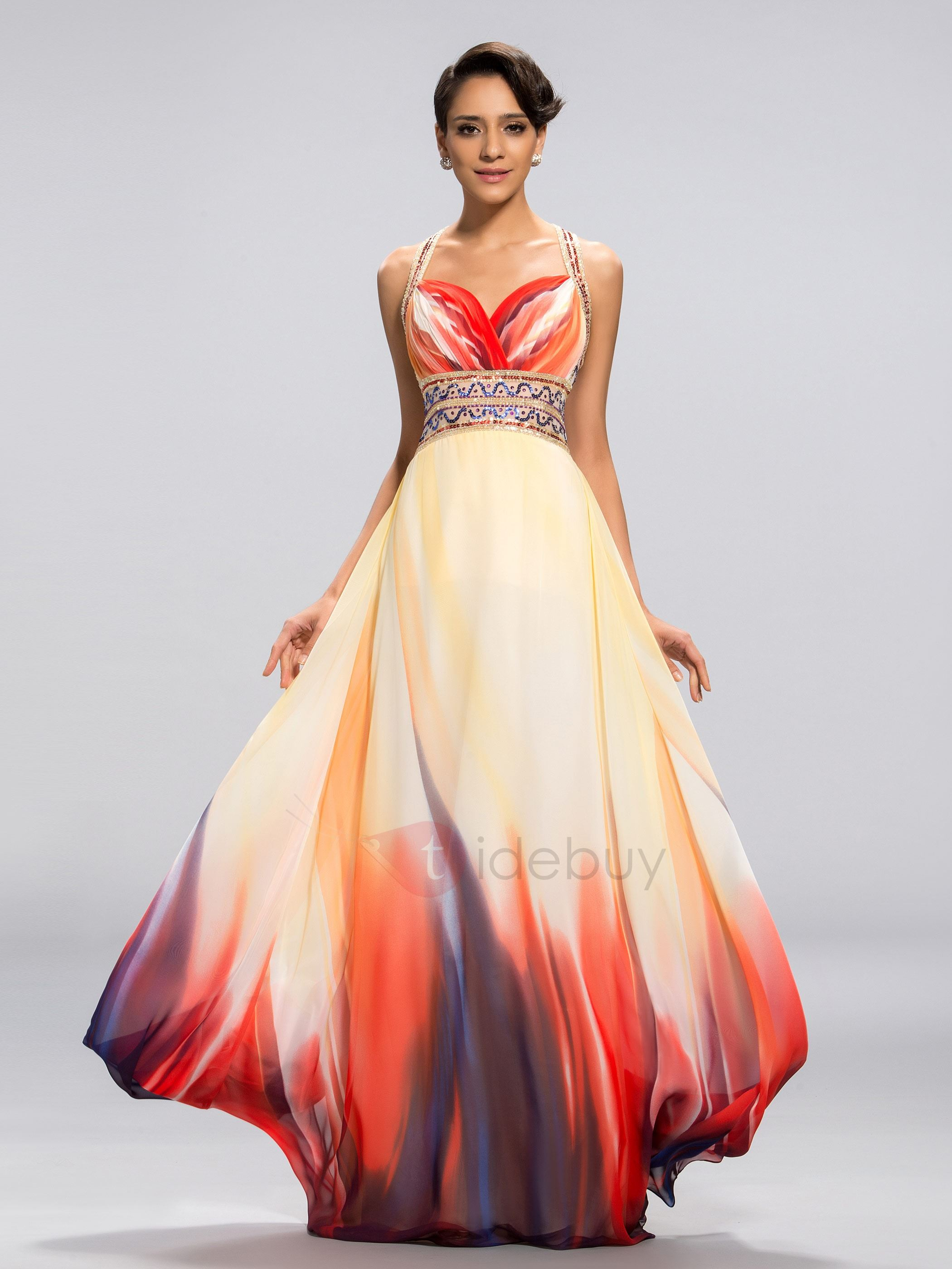 Attractive A-Line Sweetheart Straps Printed Long Evening Dress Designed