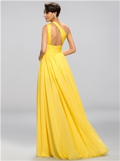 Popular A-Line One-Shoulder Ruffles Split-Front Long Evening Dress Designed