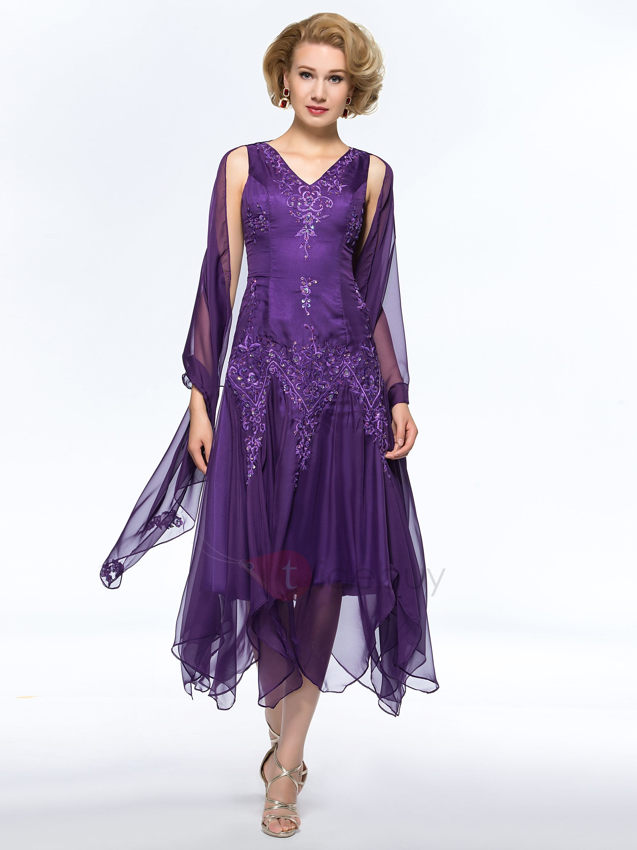 Unique Beaded Embroidered V-Neck Tea Length Purple Mother of the Bride Dress With Jacket/Shawl ...
