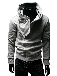 Cotton Blends Stand Collar Zip-Front Pullover Hoodie