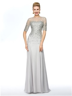 Elegant Jewel Neckline Half Sleeves Beaded Mother Of The Bride Dress Long Online