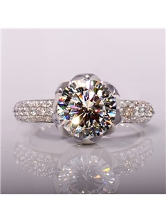 Luxury 1 CT SONA Diamond 925 Sterling Silver Platinum Plated Engagement/Wedding Ring 2