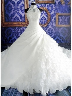 Stunning Beaded Halter Neck Tiered White Organza Cathedral Wedding Dress