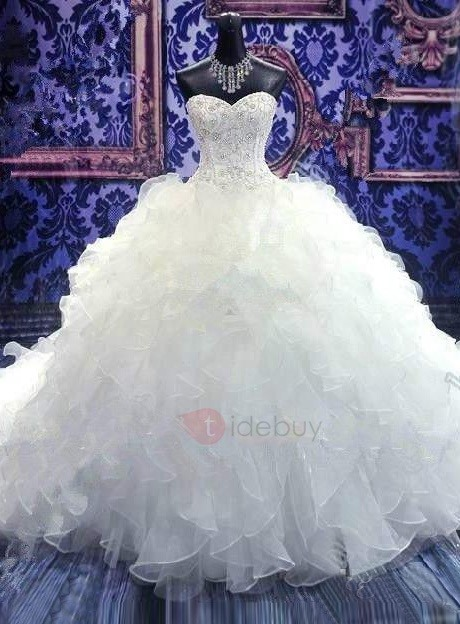 Beaded Sweetheart Tiered Ruffles Wedding Dress