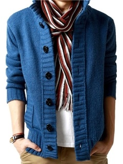 Stand Collar Single-Breasted Long Sleeve Cardigan 1