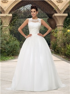 Dramatic Jewel Neck Button Zip Up White Lace Wedding Dress