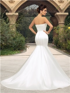 Pearl Beaded Strapless Mermaid Ivory Wedding Dress
