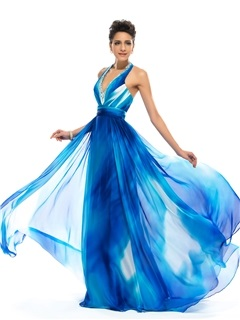 Eye-catching A-line Halter V-Neck Beading Long Prom Dress Designed