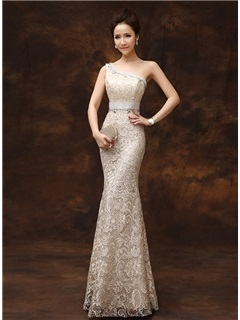 One-Shoulder Sheath Beading Lace Zipper-up Long Evening Dress & colorful Evening Dresses