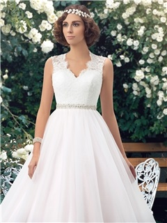 Eye-catching V-Neck Sheer Lace Back Floor Length A-Line Color Wedding Dress