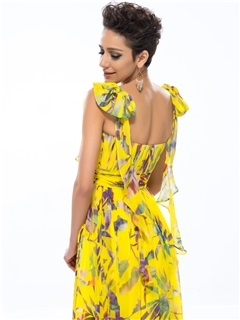 Trendyable A-Line Square Neckline Floral Printing Long Prom Dress Designed