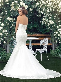 Sweetheart Lace Appliques Lace-Up Mermaid Wedding Dress (Including the Crystal Belt)